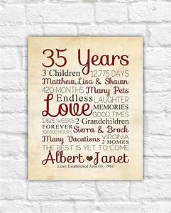 35th anniversary any year anniversary gifts personalized With what to give for 35th wedding anniversary