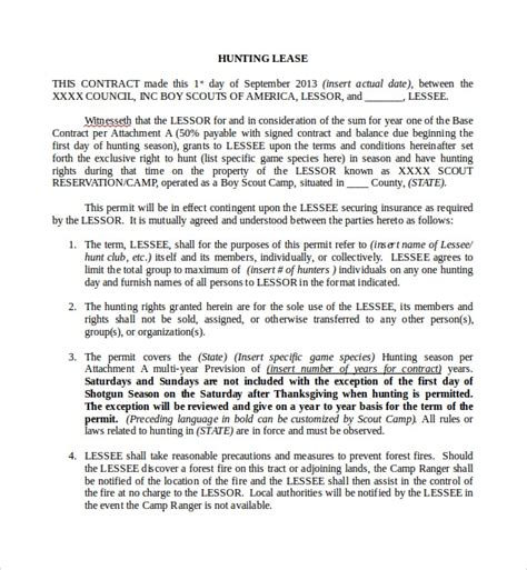 sample hunting lease agreements sample templates