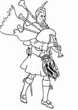 Coloring Scottish Bagpipes Highland Soldier Playing Scotland Colouring Pages Template Kilt Highlander Coloringsky Sky sketch template