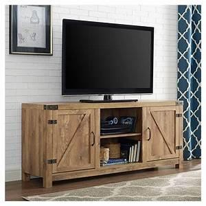 58quot barn door tv stand with side doors barnwood With barnwood door entertainment center