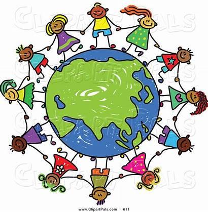 Holding Hands Children Clipart Globe Around Asia