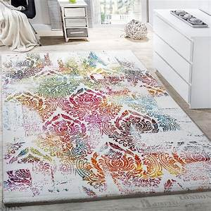 Teppich Bunt Modern : teppich modern leinwand optik teppich floral ornament muster bunt creme t rkis kinderteppiche ~ Frokenaadalensverden.com Haus und Dekorationen