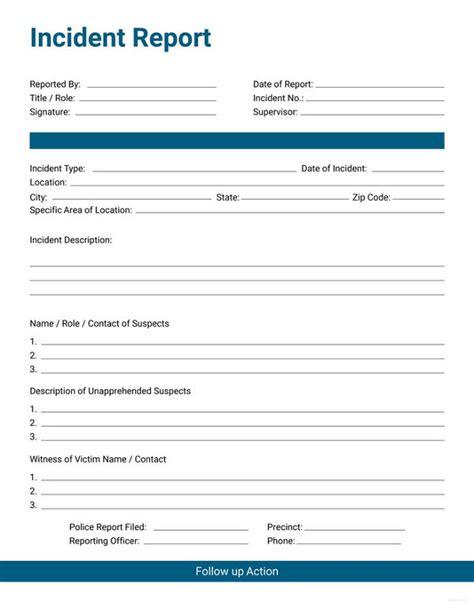 general incident report form template 33 incident report format free premium templates
