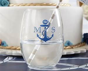 nautical theme personalized stemless wine glasses 9 oz With nautical wedding favors ideas