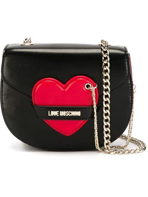 lyst love moschino heart detail shoulder bag  black