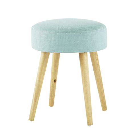 pinup wood  fabric stool  blue maisons du monde