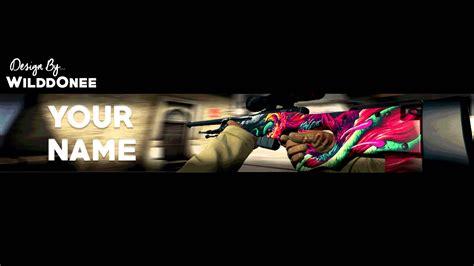 Descargar Youtube Banner Template by Free Cs Go Banner Youtube Template Psd Awp Hyper Beast