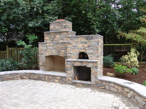 outdoor fireplace  pizza oven traditional portland