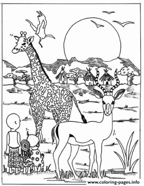 africa coloring pages giraffe in africa park animal sb81b coloring pages printable