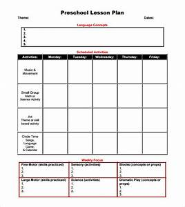preschool lesson plan template 9 free samples With toddler lesson plan templates blank