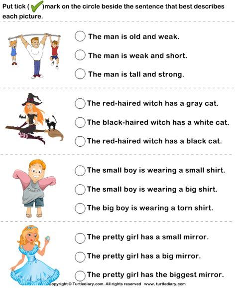 choose a sentence to describe the picture worksheet