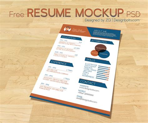 free resume cv template mock up psd for graphic designers