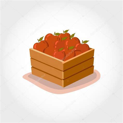 caja de manzanas rojas frescas productos de eco estilo de dibujos animados ilustraci 243 n de