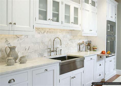 White Kitchen Tile Ideas - 4 white calacatta gold marble subway white countertop idea