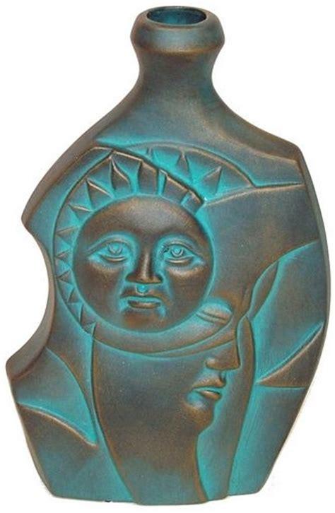 ceramic clay vase  sided designs