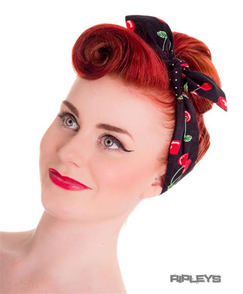 50s Black Hairstyles by Hell Bunny Black 50s Hair Tie Cherry Pop Polka Dot Retro