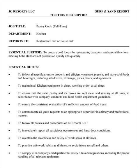 cook job description templates