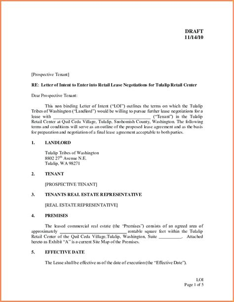 letter  intent  lease commercial property template