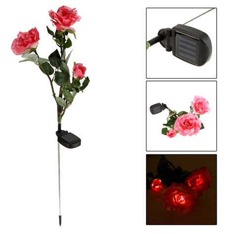 3 led solar flowers garden lights outdoor waterproof