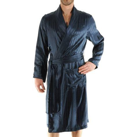 robe de chambre 100 soie pilus bleu nuit à motifs ton sur