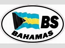 5in x 3in Oval BS Bahamas Flag Sticker Travel Luggage