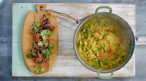 jamies chicken laksa  squash  spiced thai noodles