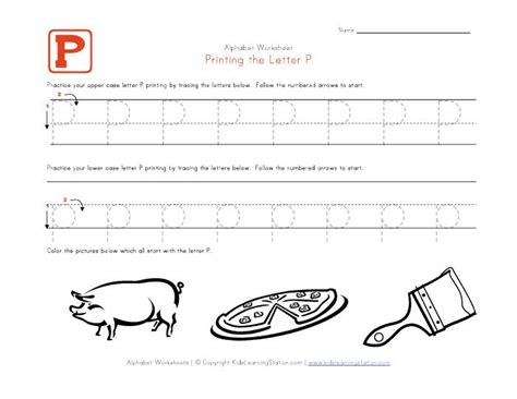 traceable alphabet letter p worksheet  images