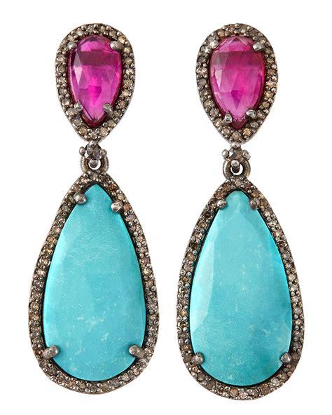 bavna ruby turquoise pear drop earrings  blue lyst