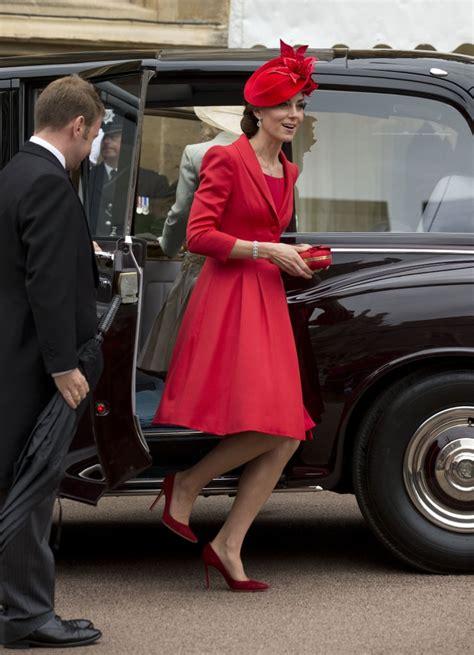 Kate Middleton Red Catherine Walker Coat Dress June