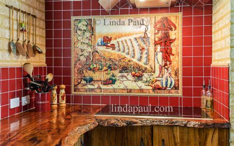 mexican tile murals chili pepper kitchen backsplash mural