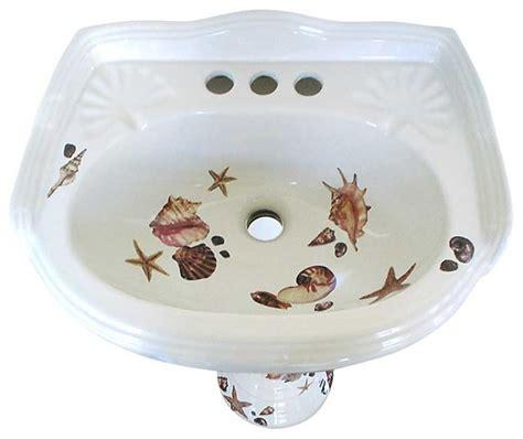 hand painted bathroom sinks seashells pedestal hand painted sink tropical bathroom