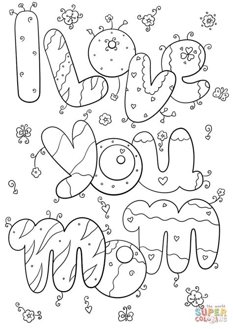 love  mom coloring page  printable coloring pages