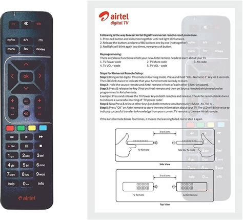 Remote Manual by Airtel Digital Tv Original Universal With User Manual