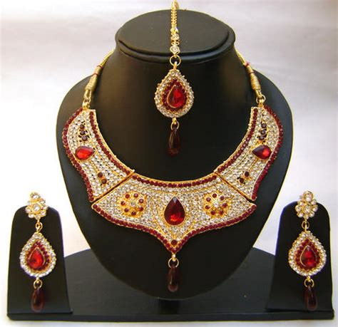 indian jewelry sets red color hand  gold plated