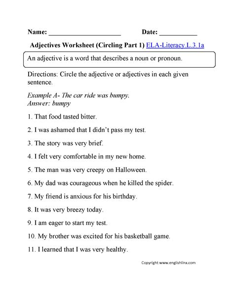 3rd grade common language worksheets
