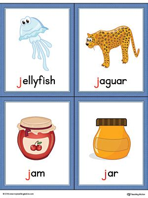 words with letter j letter j words and pictures printable cards jellyfish