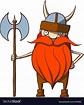 Funny cartoon viking with an ax Royalty Free Vector Image