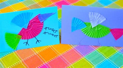 colorful bird card craft  child fun
