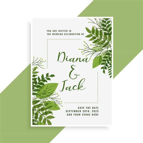 wedding invitation card design  floral green leaves