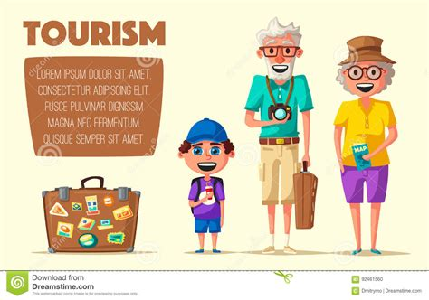 Old Couple And Grandchild In Travel. Journey Of