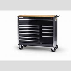 International Black Tool Cabinet With Wooden Work Surface