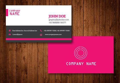 Pink Creative Business Card Vector Template Business Card Outlook Scanner Travel Agency Psd 3d Mockup (psd) Scan To Cards On Microsoft Word 2013 Printing Reading Reader Iphone Ocr
