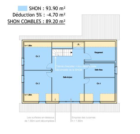 plan 4 chambres plain pied surfaces shob shon et habitable cas pratique en images