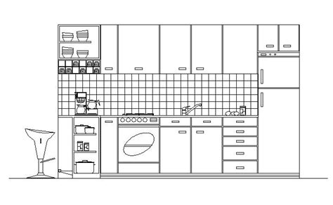 bloc cuisine autocad cad drawing of kitchen in elevation cadblocksfree cad