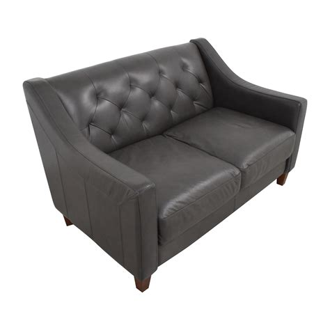 Leather Tufted Loveseat by 63 Macy S Macy S Tufted Leather Loveseat Sofas