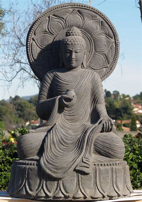 "Sold Large Garden Buddha With Ornate Halo 51"" (#59ls1"