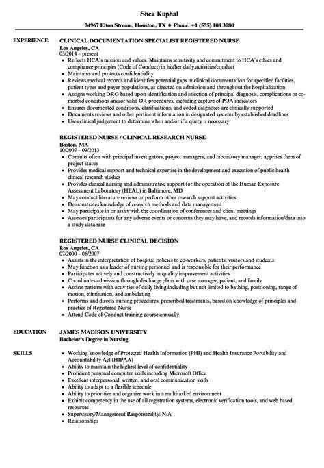 clinical nurse registered nurse resume samples velvet