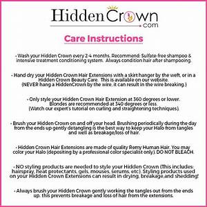 Hidden Crown Care Instructions