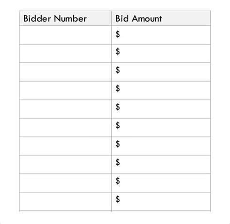 silent auction bid sheet templates samples