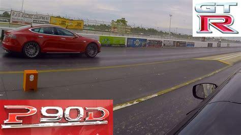 Tesla Model S P90d Ludicrous Vs 2013 Nissan Gt-r 1/4 Mile